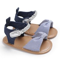 patrón de sandalias de bebé al por mayor-2018 Summer New Style Baby Toddler Girls Sweet Bow Shoes Sandalias Moda Casual zapatos lindos patrón de puntos A19