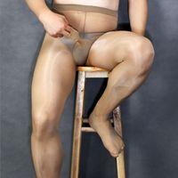 ingrosso copricapo maschile-Leg Wraps Calze Maschile Esotico Biancheria Intima Uomo Sexy Collant Lucido Olio Gay Sleeve Copertura Del Pene Collant Uomini Pole Dance