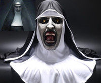 trajes de monja al por mayor-La máscara de terror de monja Cosplay Valak Máscaras de látex de miedo con pañuelo en la cabeza Velo capucha Casco integral Disfraz de horror Halloween Prop