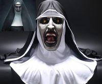 başlık başlıkları toptan satış-Rahibe Korku Maskesi Cosplay Başörtüsü Peçe ile Valak Korkunç Lateks Maskeleri Hood Tam Yüz Kask Korku Kostüm Cadılar Bayramı Prop