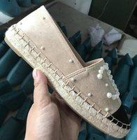 тканые ботинки оптовых-Женский рыбак холст обувь люксовый бренд летние сандалии классические плоские туфли толстым дном тканые ленивый обувь