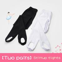 tayt tayt siyah beyaz toptan satış-Beyaz Bale Tayt Kız Üzengi Pantolon Tayt Çocuk Dans Külotlu 2 Parça Siyah Kadınlar Için Üzengi Pantolon