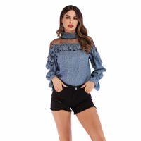 polca de gasa blusas al por mayor-Blusas de moda Mujer De Moda 2019 Oficina Mujeres Sexy Cuello de Cuello de Malla Patchwork Mujeres Blusas de Gasa Camisa Ruffles Tops Blusas