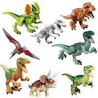 Wholesale rex toys online - Jurassic Park Dinosaur figures blocks Velociraptor Tyrannosaurus Rex Building Blocks toy Bricks kids collection gift party favor FFA2077