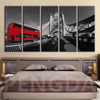 Wholesale london home decor for sale - Group buy HD Print Home Decor Paintings London Bridge Bus Landscape Picture Wall Art Modular Canvas Poster Modern Bedside Background Frame