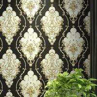 ingrosso carta da parati floreale nera per soggiorno-Rosso, blu, oro nero vittoriano classico europeo floreale damascato carta da parati 3d stereo vinile muro di carta rotolo Home Decor Living Room
