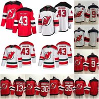 camisa de hóquei brodeur venda por atacado-2019 Projecto 1º New Jersey Devils 43 Jack Hughes 9 Salão Taylor 35 Cory Schneider 13 Nico Hischier 30 Martin Brodeur Camisola de Hóquei S-XXXL