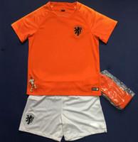portakal boys gömlek toptan satış-2018/19 Hollanda çocuklar futbol forması ev turuncu hollanda erkek milli takım JERSEY memphis SNEIJDER 18 19 V. Persie Hollandalı futbol gömlek