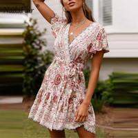 v ligne robe de dentelle courte achat en gros de-Nadafair Boho Robe D'été À Imprimé Floral Femmes Taille Haute Lace Up Une Ligne Robe De Mode 2019 V Cou À Manches Courtes Plage Mini