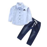vaqueros de moda para bebés al por mayor-2-8T Kids Baby Boy Outfits Ropa de manga corta T-shirt Blusa camisa Tops Jeans Pantalones de mezclilla Moda caballero Streetwear