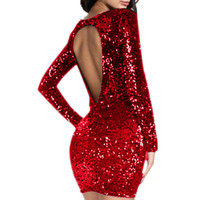 sıkı siyah kulüp elbiseleri toptan satış-Pullu elbise Seksi backless Kadınlar Uzun Kollu Sineklik Sıkı kalça bornoz Kulübü Parti Elbise kadın giyim Kırmızı Siyah giymek şampanya