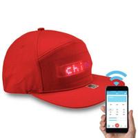Wholesale cooling hat black resale online - Cool Fashion Bluetooth LED Message Hiphop Cap Baseball Adjustable Cap Hat Men Boys