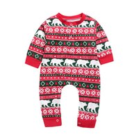 Wholesale branded clothes for baby girl for sale - Group buy INS Baby Girls Boys Cartoon Romper Polar Bear Jumpsuit Long Sleeves Bear Letter Print Bodysuit Cute Kids Clothing for Christmas M617