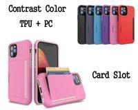 iphone karten schlitz plastik groihandel-Kontrast Farbe TPU Kunststoff Two in One-Kartensteckplatz-Fall-Abdeckung für iPhone 11 Pro Max XR XS MAX 6G 7 8 Plus