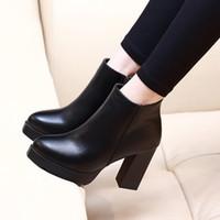siyah platform tıknaz yüksek topuklu toptan satış-Sonbahar Kış Kadın Ayak Bileği Çizmeler Yüksek Topuklu Tıknaz Topuklar 7 CM 10 CM Platformu PU Deri Kısa Patik Siyah Bayan Ayakkabı İyi Kalite