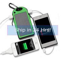 banco de energía para teléfonos celulares al por mayor-5000mAh Banco de energía solar a prueba de agua, a prueba de golpes, a prueba de polvo, batería de energía solar portátil para iPhone 7 7Plus