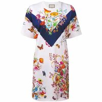 ingrosso disegni del vestito da estate dell'annata-Brand Design 2019 Estate nuove donne vestito stampa fiore Splice Boemia O-Collo farfalla dritto breve vestito per le donne