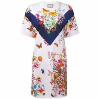 diseños vintage vestido de verano al por mayor-Diseño de marca 2019 Verano Nuevas Mujeres Vestido de Impresión Flor Empalme Bohemia O-cuello Mariposa Vestido Corto Recto Para Las Mujeres
