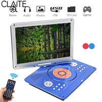 Wholesale portable mp3 player for car resale online - 14 inch Portable DVD Player Rotatable Screen Multi Media DVD for Game TV Function Support MP3 MP4 VCD CD Player for Home and Car