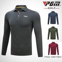 mesa baja al por mayor-Pgm Mens Turn Down Collar Golf Shirts Hombre de manga larga Muscle Table Tennis Tops Ropa deportiva para hombres 3 colores D0486