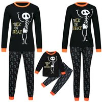 Wholesale father son clothing sets for sale - Group buy Halloween matching pajamas sets father son clothes Long Sleeve Letter Print Tops Pants family clothing Pajamas Set