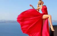 vestido sin espalda de encaje rojo desnudo al por mayor-Vestidos de novia rojos de verano de alta división Gasa Amazigr Encaje Sin espalda Aplique de gasa Boho Diseñador Largo Vestiod De Boda Vestidos de novia