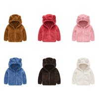 fourrure de lapin achat en gros de-Détail hiver enfants polaire veste bébé chaud lapin oreille à capuche veste mode mignon luxe manteaux de fourrure sport manteau ourtwear vêtements pour enfants