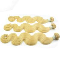 remy europäisches menschliches haar weben großhandel-Remy blonde europäische Menschenhaarwebart 3/4/5 bündelt gewelltes rohes Haar der Körperwelle Schuss natürliches gerades 613, das reine Haarverlängerungen bleicht