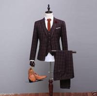 brauner anzug großhandel-Pieces Custom Tailor Made Brown Karierte Herrenanzüge Hochzeitsanzug mit Smoking