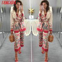костюм блейзер мод женщины оптовых-Tangada Женщина костюм пиджак цветочного дизайнера куртка корея мода 2018 год с длинным рукавом дамы блейзер женского офисом пальто Blaser 3H48