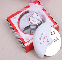 """Wholesale """"A Slice of Love"""" Stainless Steel Love Pizza Cutter in Miniature Pizza Box wedding favors and gifts for guest"""