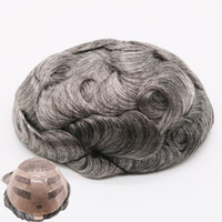 Wholesale back straight hair resale online - Human hair men toupee Swiss Lace Front With Pu Back Men Wig Body Wave Inch B65H Free Style Natural Durable Breathable Men Toupee
