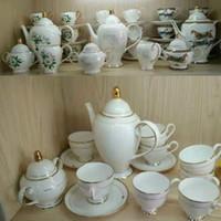 Wholesale high tea china sets resale online - British Royal Porcelain Europe High Grade Bone China Coffee Cup D Color Enamel Porcelain Saucer Coffee Tea Sets For Friend Gift
