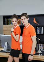 iş ovaları toptan satış-Erkek ve kadın yaz merserize pamuk kısa kollu t-shirt erkek yaka POLO gömlek düz renk gevşek T-shirt iş yarım kollu