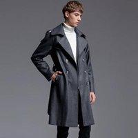 ingrosso uomini britannici di soprabito-OLN causale Cappotto di lusso del Mens giacca doppiopetto British Style di lana Uomini trincea Plus Size 6XL Maschio business cappotto