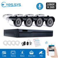 nvr poe sicherheitssystem großhandel-eyessys 4pcs 2MP 1080P 36LEDS CCTV IP-Audiokamera-System H.265 4CH 4.0MP Netto POE NVR PC / IOS Android Sicherheitsset