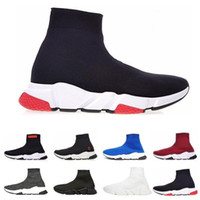 Wholesale mens high winter boot resale online - 2019 New Paris Speed Trainers Knit Sock Shoe Original Luxury Designer Mens Womens Sneakers Cheap High Top Quality Casual Shoes With Box