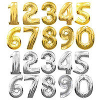 Wholesale gold number balloons resale online - 32 Inch Helium Air Balloon Number Letter Shaped Gold Silver Inflatable Ballons Birthday Wedding Decoration Event Party Supplies