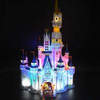 la construcción de bloques de castillo juguetes al por mayor-Juego de luces LED modelo Princess Castle para Iego compatible 71040 16006 bloques de construcción de educación ladrillos juguetes regalos de Navidad
