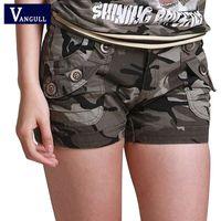 meninas camuflagem shorts venda por atacado-Vangull camuflagem calções 2018 mulheres slim fit militar meninas meninas bolso com zíper mini calções de macacão calças de brim de carga de carga q190428