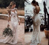 Wholesale see through flower wedding dress resale online - Long Sleeves Berta Gorgeous Mermaid Wedding Dresses Sexy Sheer Full Lace Appliqued Bridal Dress See through Backless Bridal Gowns