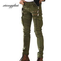 армейские грузовые джинсы оптовых-Army Green Black Mens Denim Biker Cargo Jeans Brand Men Stretch Skinny Moto Pencil pants Runway Distressed Motorcycle Jeans