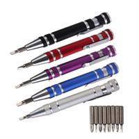 kit d'outils de réparation de téléphones mobiles achat en gros de-Jeu de tournevis 8 en 1 Jeu de précision pour stylo en aluminium Kit de tournevis Outils de réparation de style de stylo pour téléphone portable Tournevis multi-outils