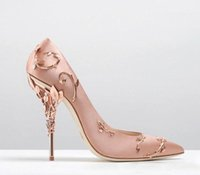 Wholesale t strap wedding heels online - Ornamental Filigree Leaves Spiralling Naturally Up Heel White Women Wedding Shoes Chic Satin Stiletto Heels Eden Pumps Bridal Shoes