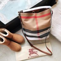 england haberci toptan satış-İngiltere tarzı yeni moda kadın ızgara bez kova çanta eğlence omuz messenger çanta üç renk