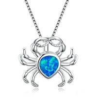 ingrosso pendente d'acqua opale d'acqua-Collana opale per goccia d'acqua Forma blu fuoco Gioielli animali imitazione Collana in argento sterling 925 riempito con pendente a forma di granchio