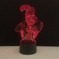 Wholesale spiderman figures resale online - Creative Super Hero Spiderman D Night Light Touch Hero Table Lamp Color LED Light Boy Child Personality Christmas Gift D Night Light
