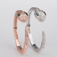 Wholesale mens bangle head resale online - Big Snake Head Casual Bracelets Designer Luxury Bangles Mens Womens Wedding Wristlet Quality Fashion Rose Bangles Couple Silver Wristbands