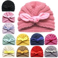 Wholesale baby beanies cotton solid for sale - Group buy Newborn Baby Girl Boy Autumn Winter Knitted Hat Bow Solid Crib Beanie Cap Toddler Head Wrap Baby Turban Cap M T