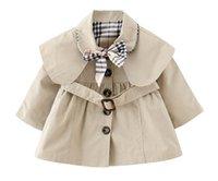 детская зимняя куртка оптовых-Новые новорожденные девочки тонкие пальто с бабочкой и поясом осень-весна мода ветрозащитная куртка девушки плащ с капюшоном